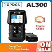 TOPDON AL300 전체 OBD2 스캐너 자동차 OBDII 진단 도구 자동 코드 리더 오류 코드 읽기 엔진 검사 스모그 테스트 IML 끄기