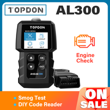 TOPDON ماسح ضوئي للسيارة AL300 ، أداة تشخيص كاملة OBD2 ، قارئ رمز خطأ ، قراءة المحرك ، فحص الدخان ، إيقاف تشغيل IML