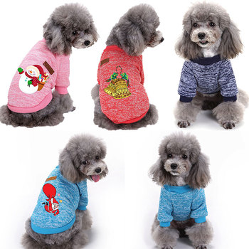 XS-2XL Christmas Dog Sweater Snowman Santa Claus Printed Dog Hoodies Costume For Small and Medium Dogs Winter Warm Pet Clothes image