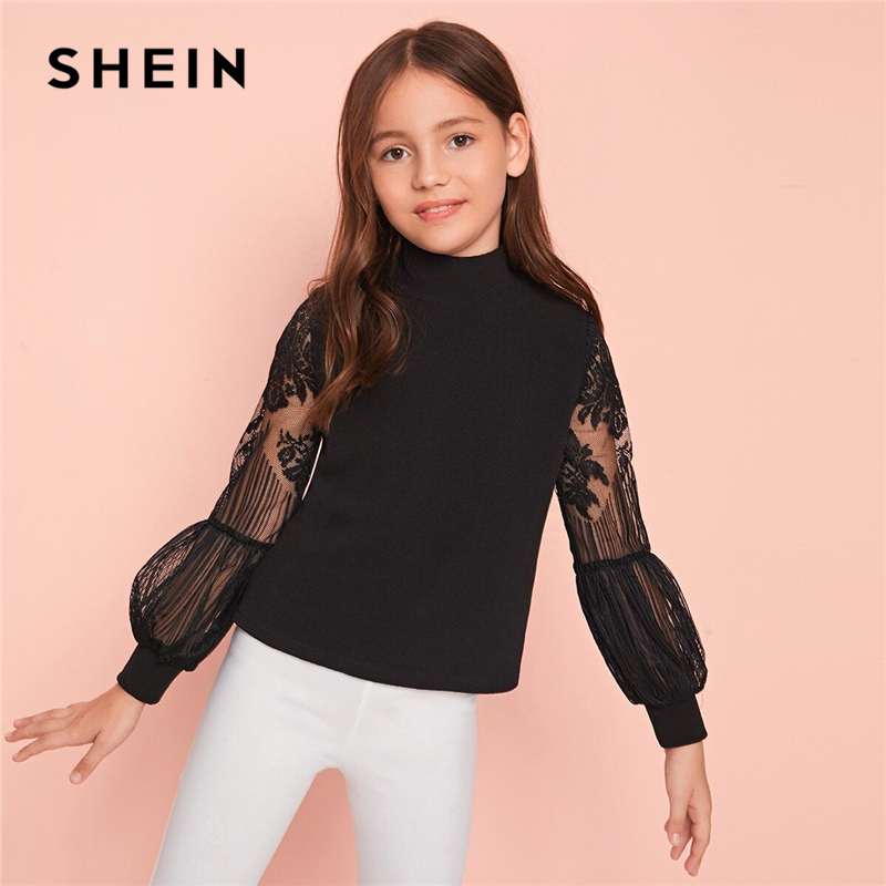 SHEIN Kiddie Solid Stand Collar Contrast Lace Girls Casual T-Shirt Kids Tops Spring Lantern Sleeve Zipper Back Children Tees