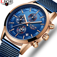 цена на Relogio Masculino LIGE Luxury Quartz Watch Men Blue Dial Sports Chronograph Mens Watches Top Brand Fashion Mesh Belt Wrist Watch