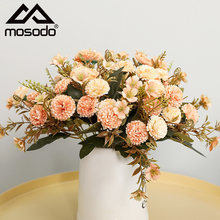 Mosodo Artificial Carnations Flowers Home Decore Dry Rose Flower Fake Clove Flower Home Garden Wedding Decoration Accessories