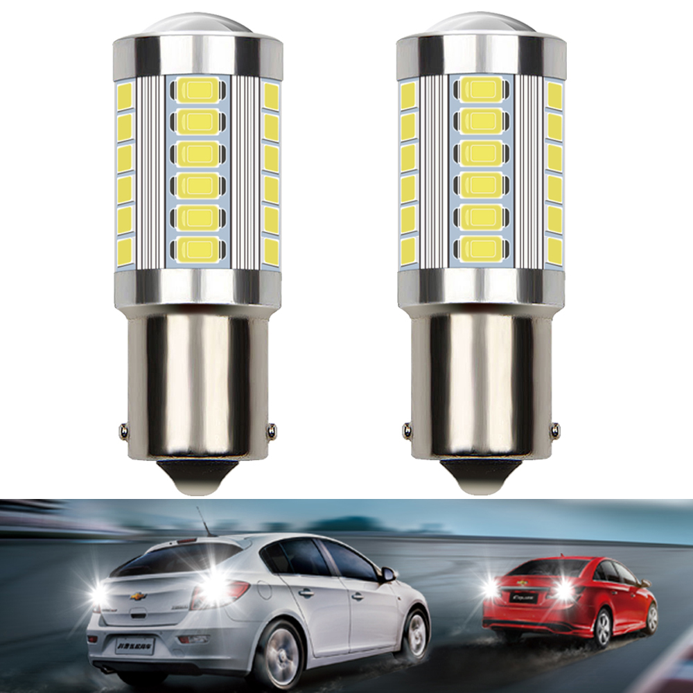 2pcs LED Bulb 1156 BA15S P21W 7506 3156 3157 T20 7440 7443 W21W Canbus No Error Auto Backup Reverse Car Front Rear Bulbs