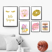 Gold Decor Makeup Wall Art Lashes Canvas Painting Fashion Perfume Posters and Prints Picture Pink Golden Bedroom