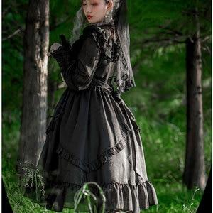 Image 3 - Vintage Long Sheer Sleeve Casual Dress Lace Ruffled Illusion Neck Midi Gothic Party Dress