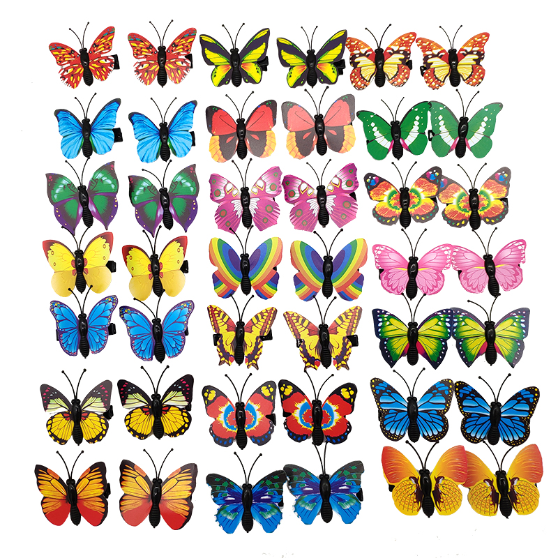 Wholesale 100pcs/Set Colorful Butterfly Design Dog Hair Bows Alloy Clips Pet Grooming Accessories Dog Cat Hairpin Dog Supplier
