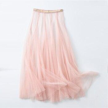 Primavera otoño mujer encaje plisado alta cintura Falda larga señoras coreano vintage elegante tul malla transparente gasa Falda midi