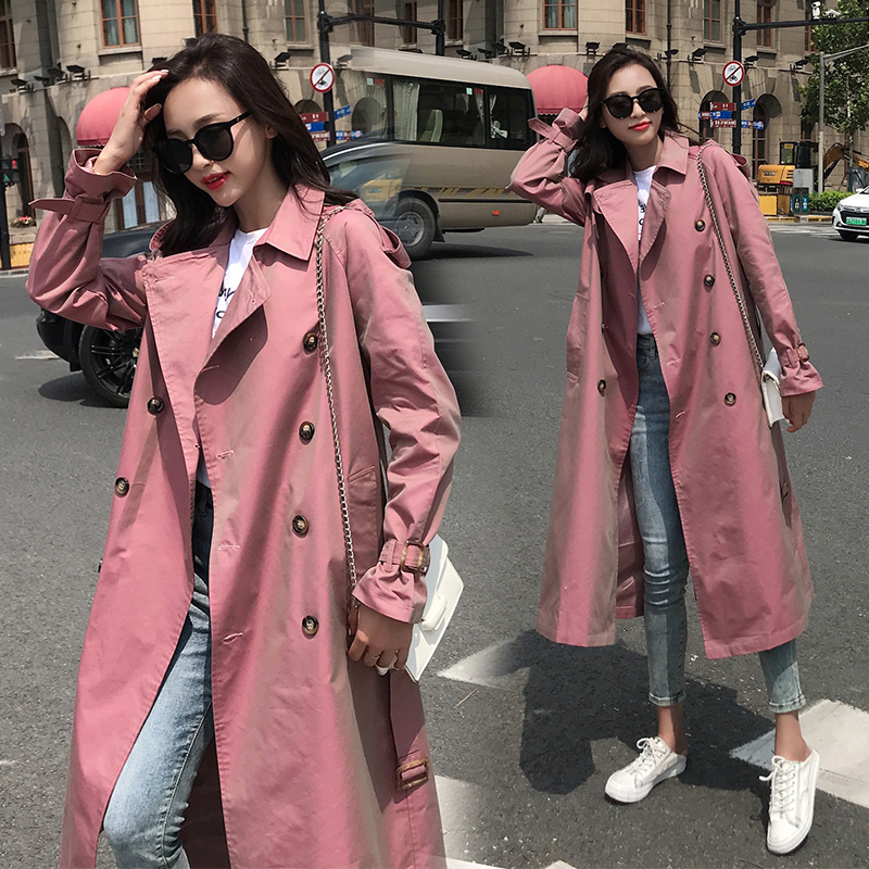 New Women Solid Medium Long   Trench   With Belt Female Double Breasted Full Sleeve Coat High Street Lady Loose Overcoat Elegant Hot