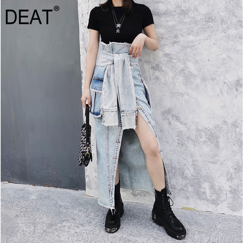 DEAT 2020 HIGH Waist Fake Sleeves Pocket Denim Contrast Colors Washed Long Halfbody Skirt Female WM34005L