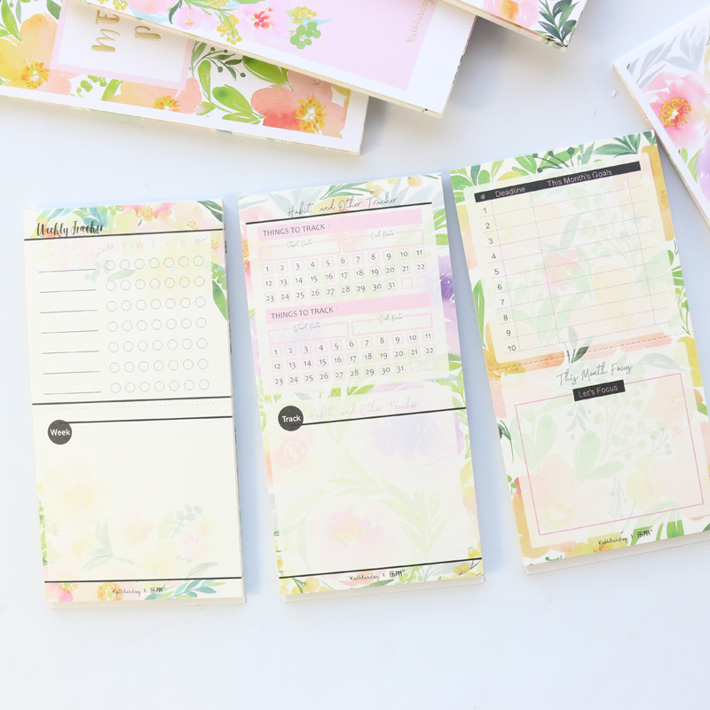 Domikee Cute Kawaii Flower Agenda Planner Note Pad Stationery:shopping List Daily Weekly Monthly Planner Goal Organizer Memo Pad