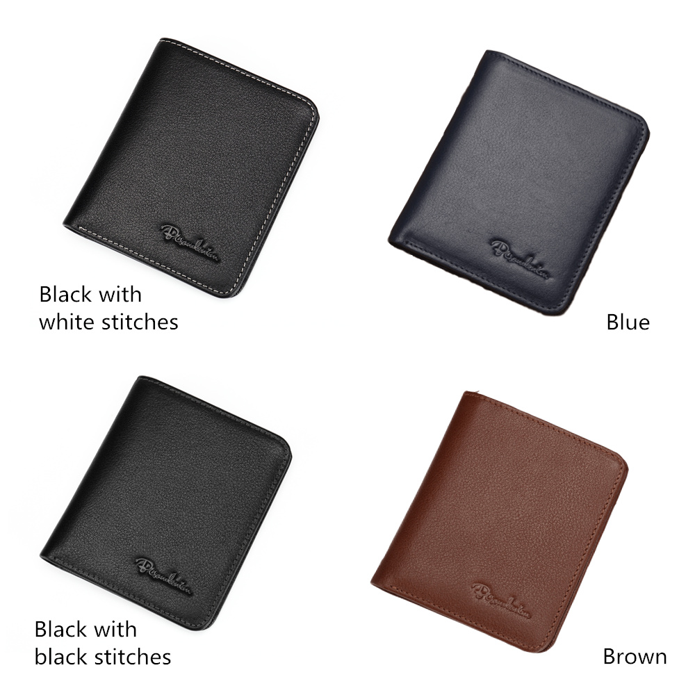 Image 2 - BISON DENIM Black Purse For Men Genuine Leather Men's Wallets Thin Male Wallet Card Holder Cowskin Soft Mini Purses N4429-in Wallets from Luggage & Bags