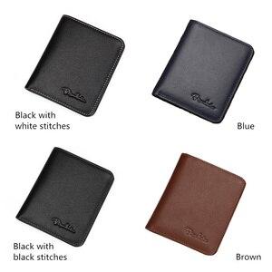 Image 3 - BISON DENIM Black Purse For Men Genuine Leather Mens Wallets Thin Male Wallet Card Holder Cowskin Soft Mini Purses N4429