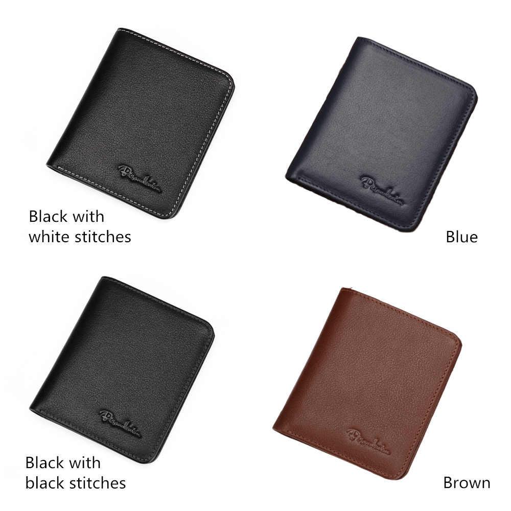 Bison denim carteiras masculinas, de couro genuíno, preto, porta-cartão, fino, macio, mini bolsas n4429