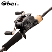 Obei Travelfising Casting Fishing Rod And Fishing Reel Combo 1.8/2.1/2.4m Lure Bass Travel Rod Baitcasting Carp Reel