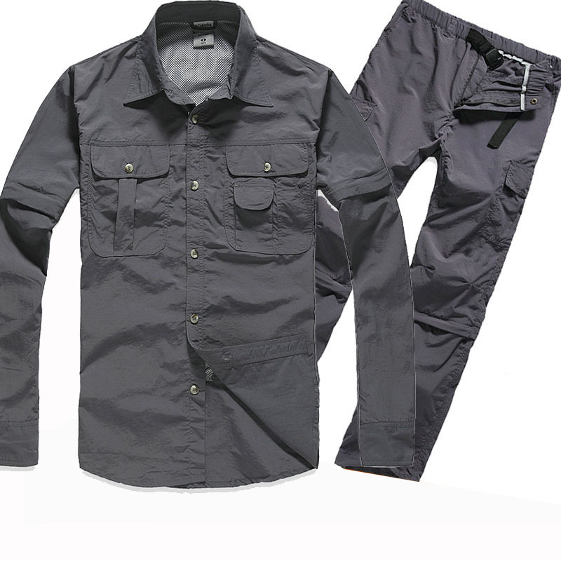 Men's Tactical Shirt Military Quick Dry Shirts Man Clothing Outdoor Casual Suit Hiking Camping Long Sleeve Climbing Trousers