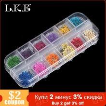 LKE 12 색/세트 네일 반짝이 혼합 말린 꽃 컬러 네일 수정 UV 젤 플레이크 네일 아트 장식 반짝 이는 DIY 팁