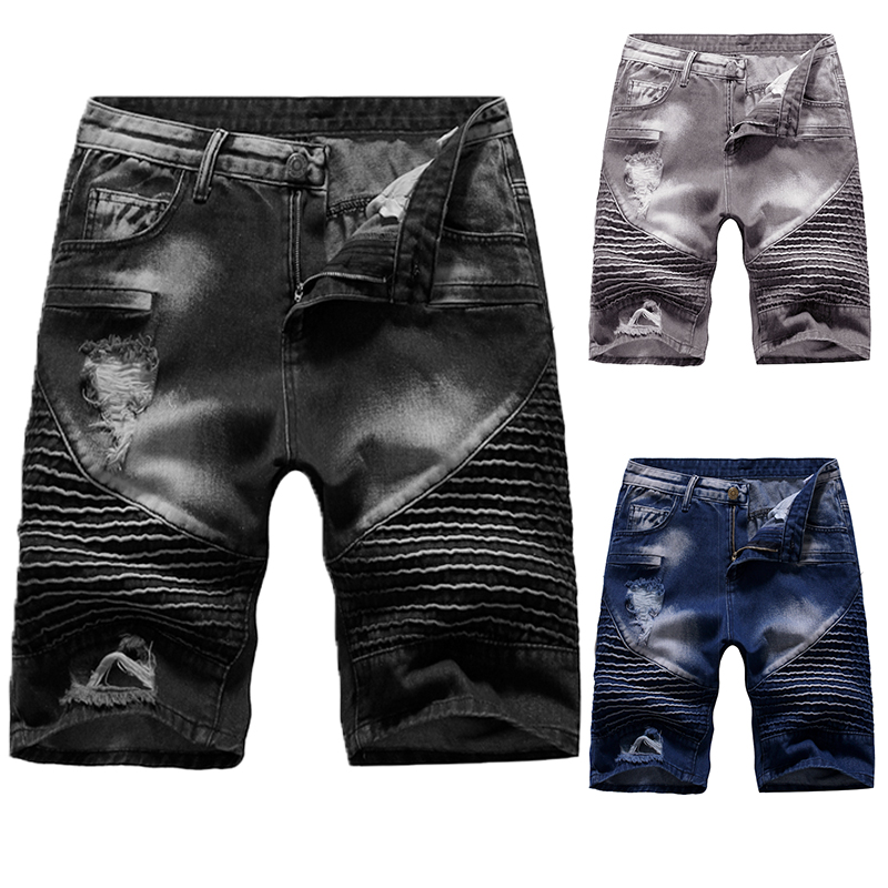 New Summer Denim Shorts Men's Stretch Slim Short Jeans Men's Designer Cotton Casual Distressed Shorts And Knee Shorts S-2XL