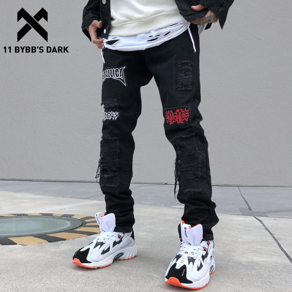 11 BYBB'S DARK Patchwork Hole Printed Skinny Jeans Mens 2019 Harajuku Streetwear Hip Hop Casual Joggers Male Harem Cargo Pants
