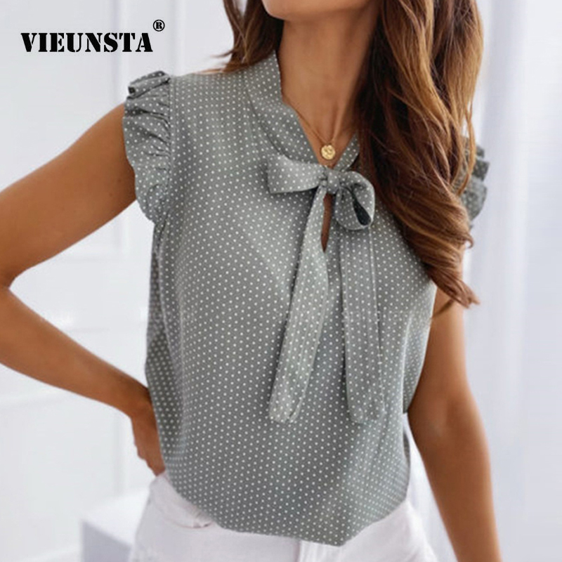 Women Blouses Elegant Butterfly Short Sleeves Shirt Woman 2020 Spring Summer O Neck Polka Dot Female Tops Pullover Vintage Blusa