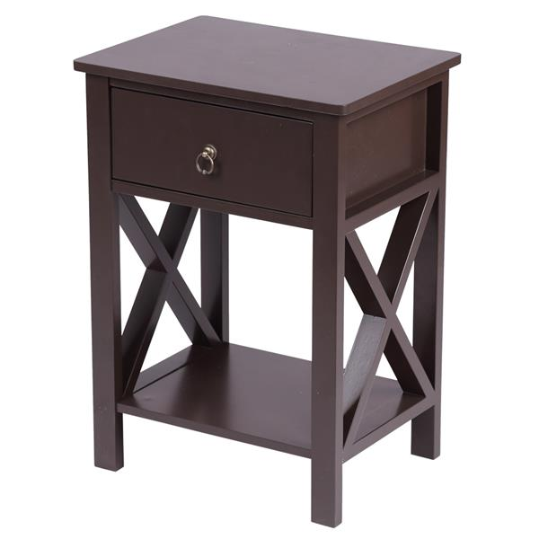 Double Layer Nightstand Desktop Brown Spray Paint Cross Type Single Suction Bedside Table Bedstand Cabinet Cupboard