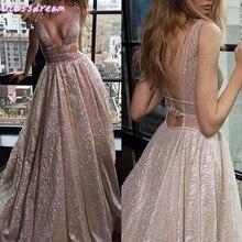Prom-Dresses Sequin Gala Evening-Dress V-Neck Sparkle Tulle Party Long-Vestidos Pink