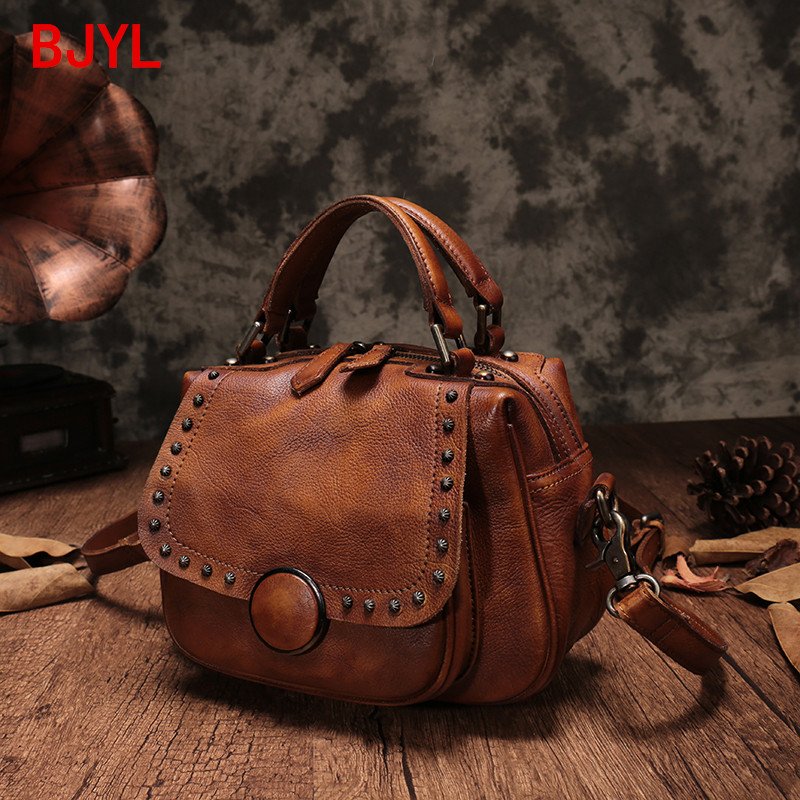 European Station Retro Leather Women Handbags Cowhide Leather Bag Cover Soft Handle Bill of Lading Shoulder Diagonal Small Bags
