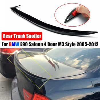 Black/Carbon fiber Saloon Rear Boot Lip Spoiler Tail Wing M3 Style For BMW 3 Series E90 4 Door 2005-12 Rear Roof Wings Trunk Lip image