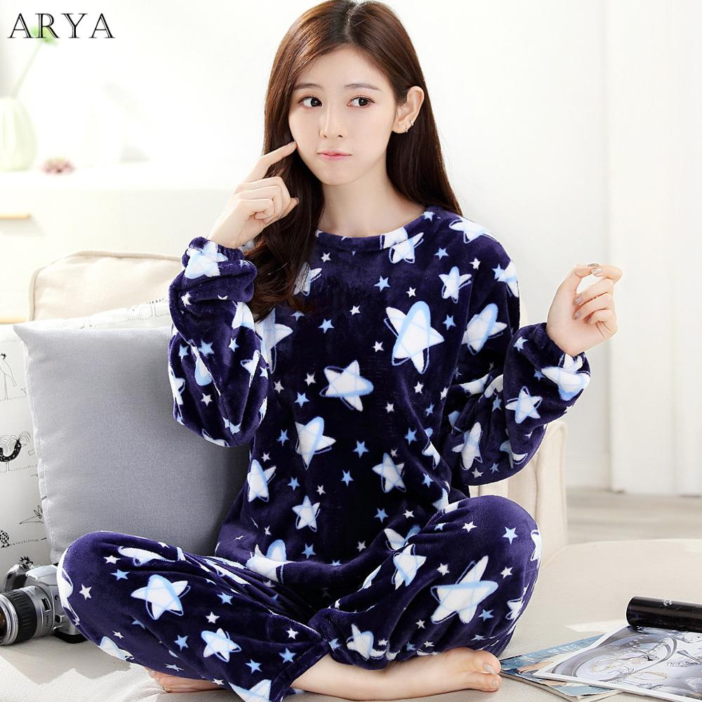 Arya Flannel Women Pajamas Sets Winter Pajamas Cute Cartoon Thick Warm Women Sleepwear Cute Female Coral Velvet Homewear