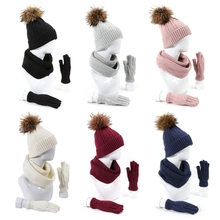 Hat Scarf Neck-Warmer Winter Gloves-Set Beanie Women Thick 3pcs Pom-Pom-Cap Fake-Ball