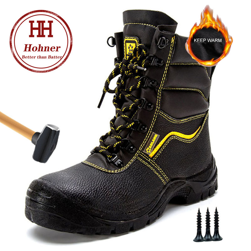 Winter Shoes Work Safety Boot Indestructible Anti-smashing Piercing Shoes Genuine Leather Ankle Boots Men Boots Steel Toe Shoes