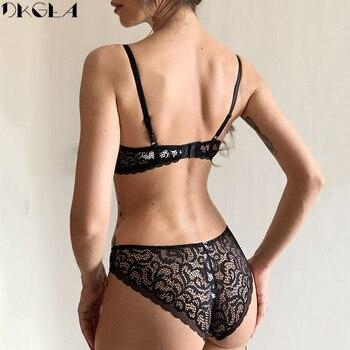 Classic Black Underwear Set Sexy Bras Printing Fashion Push Up Bra Panties sets Thick Cotton Brassiere Lace Women Lingerie Set 2