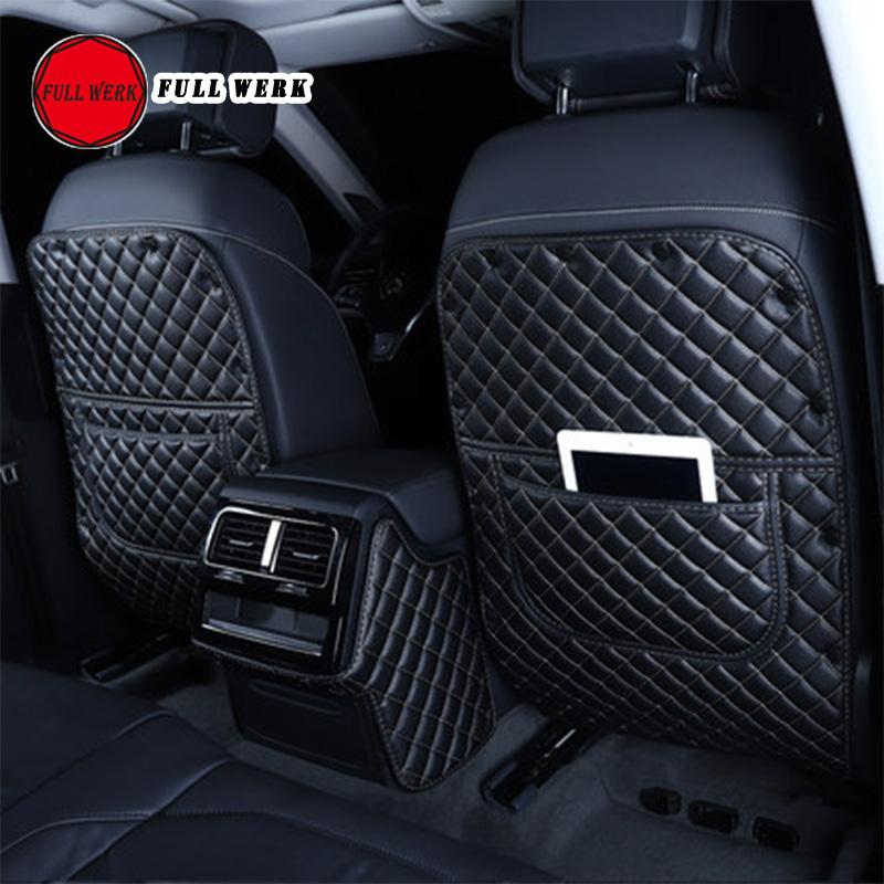 PU Leather Car Seat Back Anti Kick Pad Cover Protector For Touareg 19 Rear Armrest Box Anti-dirty Cushion Interior Accessories