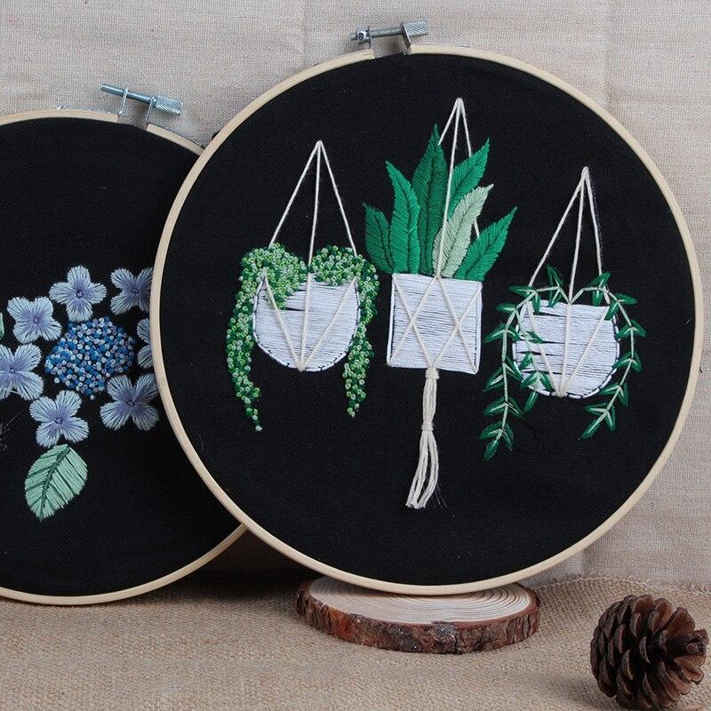 English Version Embroidery Needlework Set Printed Embroidery Fabric Round Embroidery Kit DIY Art Sewing Craft