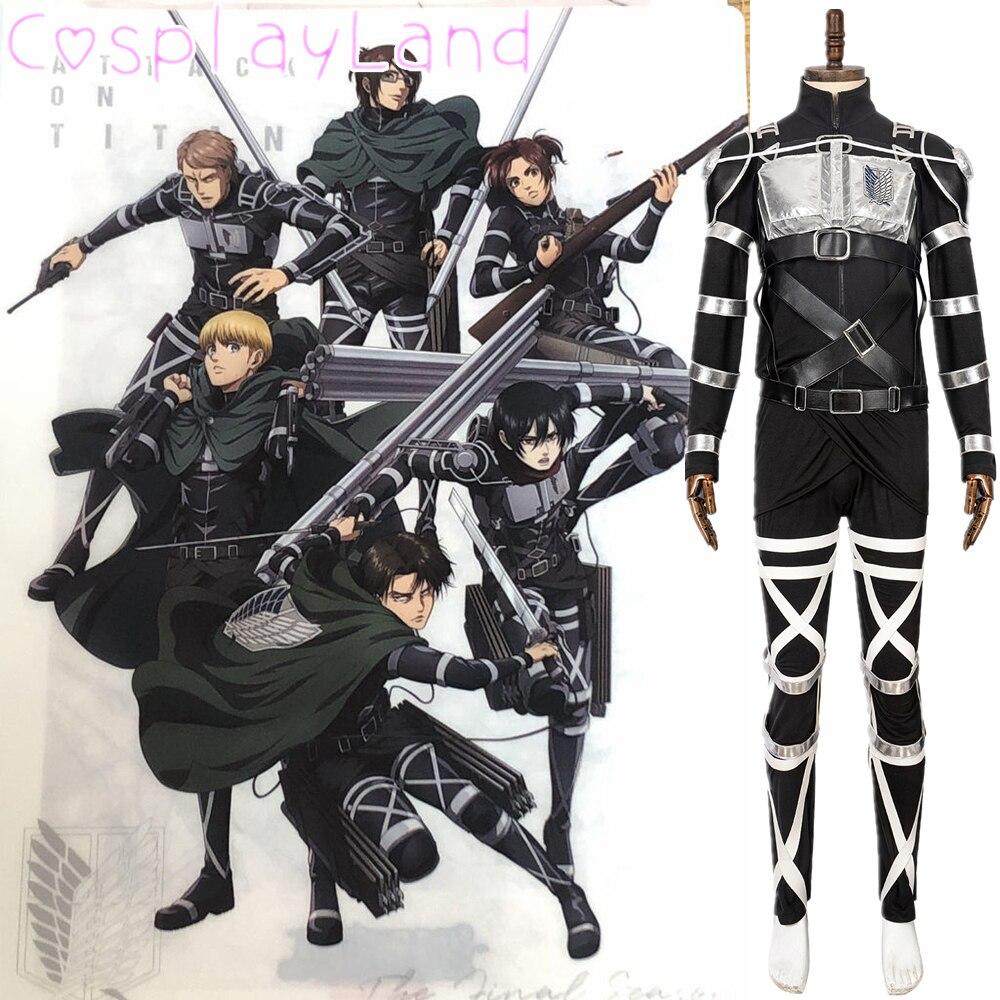 Ataque em titan 4 a temporada final rivaille cosplay traje de halloween outfit shingeki não kyojin equipe armadura uniforme homem terno