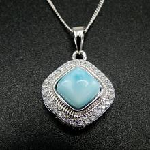 Gorący sprzedawanie piękne 925 Sterling Silver biżuteria naturalne dominika Larimar kobiet naszyjnik na prezent