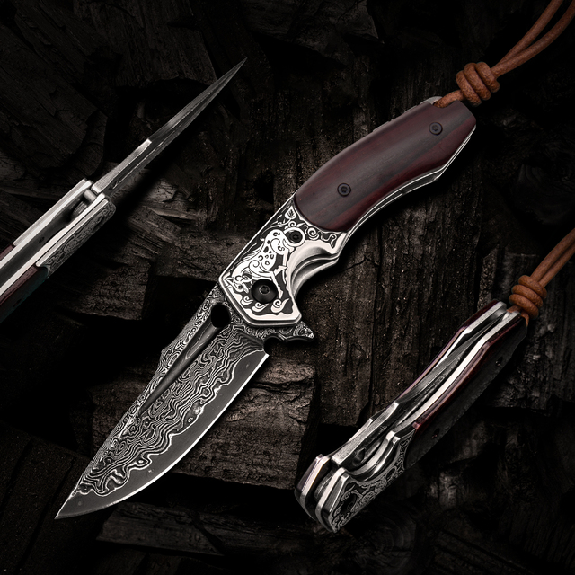 Handmade Folding Knife Damascus Steel Blade Wooden Handle EDC Self Defense Camping Hunting Tactical Pocket Knives with Sheath 2