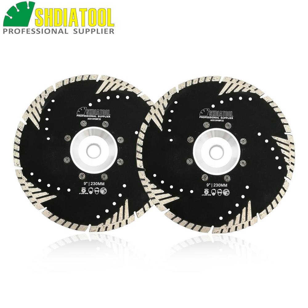 SHDIATOOL 2pcs 9 230mm Diamond Blades Stone Concrete Sawblade 22 23 FLANGE Slant Protection Teeth Cutting