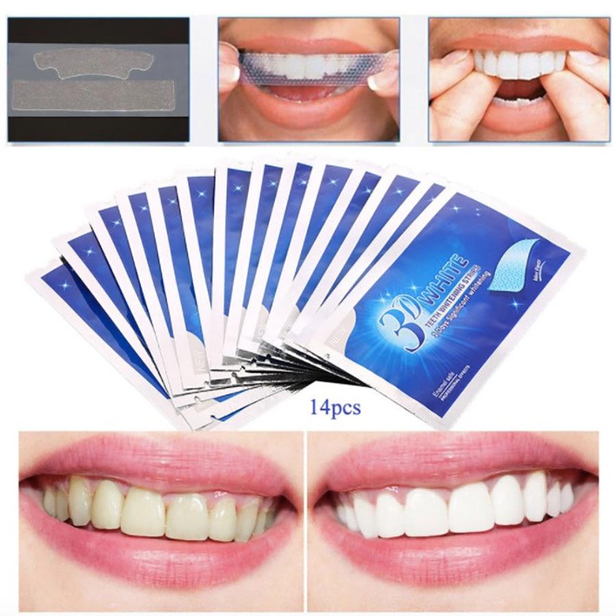 Bandes De blanchiment des dents, 14 pièces, bandes De cire 3D, Accessoires dentaires blancs
