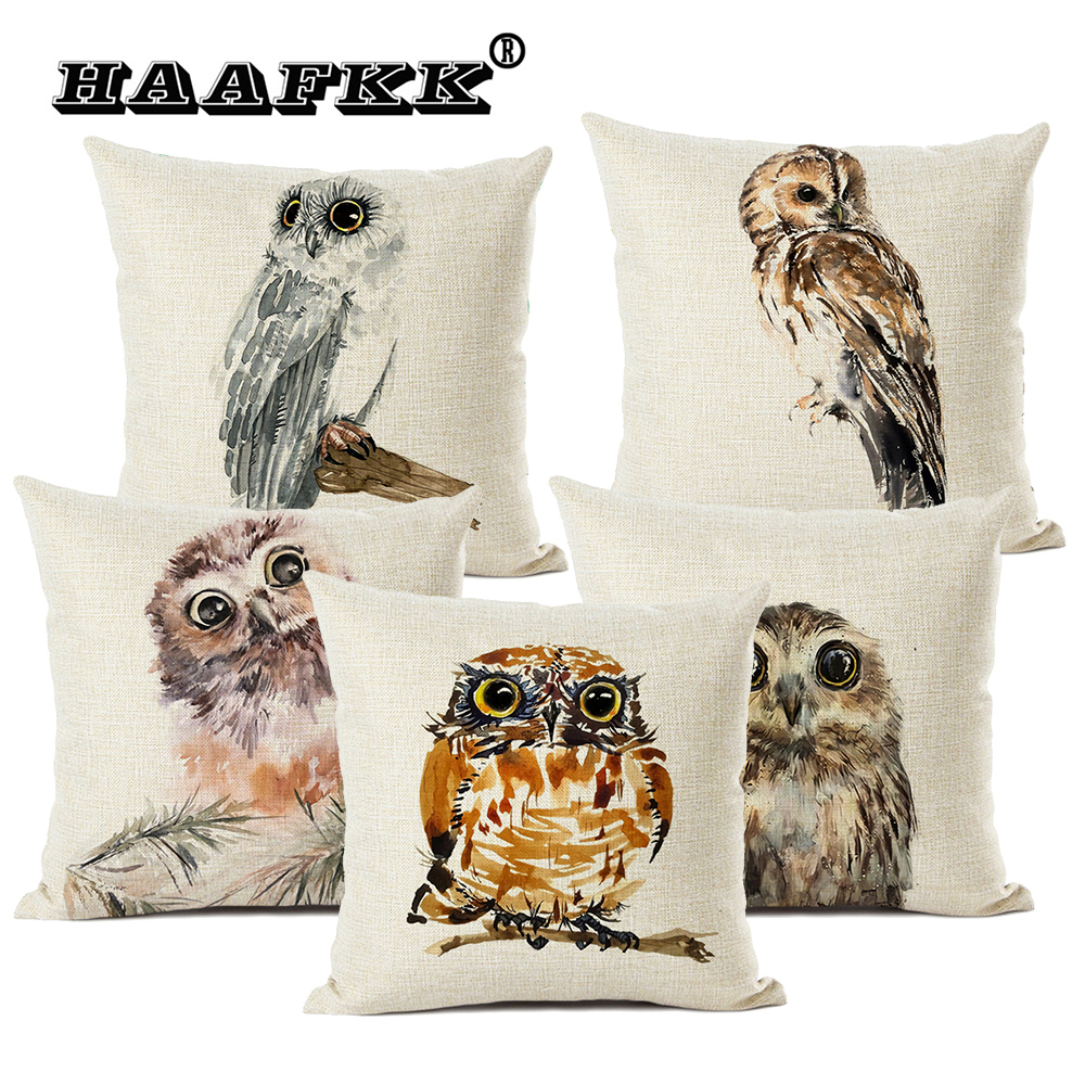 Lovely Animal Owl Cushion Cover 45x45cm Linen Pillow Sofa Pillow Suitable for All Kinds of Occasions Bar Decoration