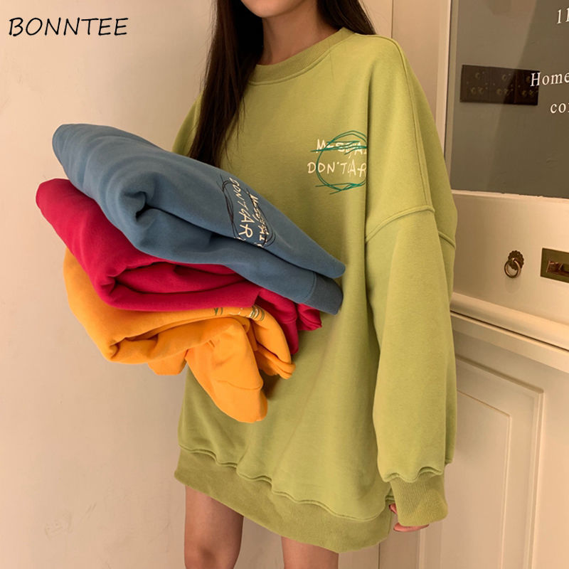 Hoodies Women Candy Color Print Simple Outwear Pullover Womens Students Korean Style Leisure Loose Delicate Friends Bf Fashion