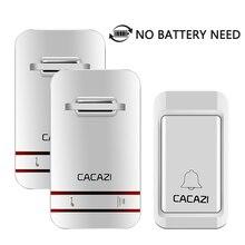EU Plug No Need Battery Led Wireless Doorbell Waterproof Kinetic Electronic Door Bell With 1 Doorbells Push Button + 2 Receivers