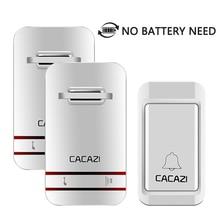 Phích Cắm EU Không Cần Pin LED Chuông Cửa Không Dây Chống Nước Động Điện Tử Chuông Cửa Có 1 Doorbells Nút Nhấn + 2 đầu Thu
