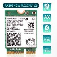 Adaptador sem fio de banda dupla intel  banda dupla 2.4gbps para intel ax201 ax201ngw ngff key e m.2 802.11ax cnviobe placa wi-fi com bt5.0 laptop para win10