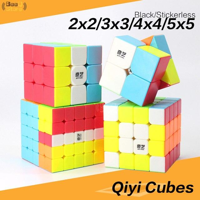 Qiyi 2x2 3x3 4x4 5x5 المكعب السحري QiyuanS QizhengS سرعة أُحجية مكعبات WarriorW تشى دى الأسود Stickerless 3 قطعة 4 قطعة/المجموعة لعبة تعليمية