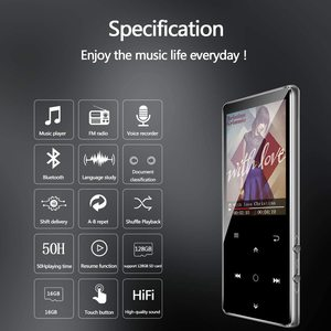 Image 2 - MP3 player, BENJIE 16GB 2.4 inch MP3 Bluetooth 4.0 HiFi lossless music player, TFT color screen/FM radio, maximum support 128GB