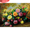 HUACAN Pictures By Number Flower Kit Drawing On Canvas Wall Art HandPainted Oil Painting DIY Gift Home Decoration