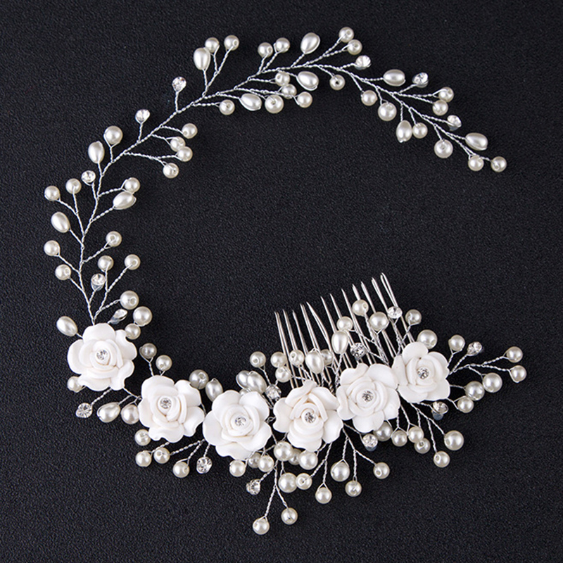Wedding Headdress Pearl Hairband White Flower Handmade Headbands Hairbrush Bride Hair Jewelry Hair Comb