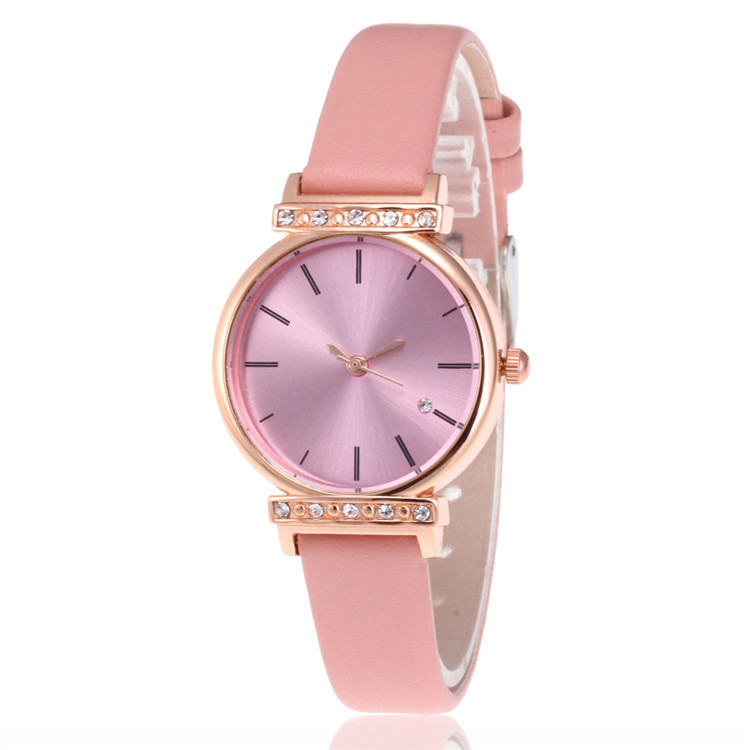 Fashion Ladies Watch Fashion Contracted Hot Style Belt Female Table Character Set Auger Multicolor Dial Quartz Watch