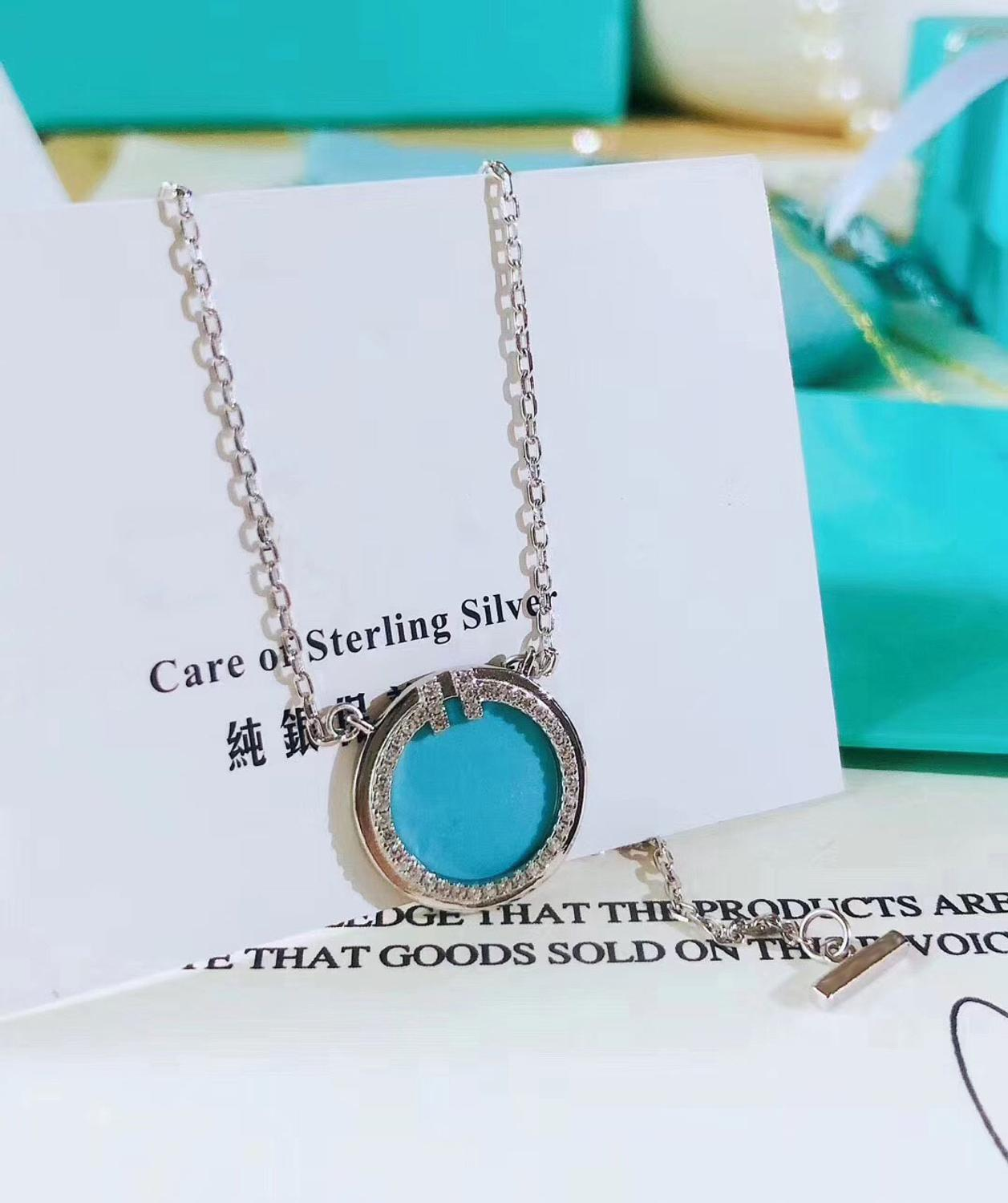 XL TFB Original 925 Sterling Silver Fashion Silver Round Blue Necklace With Logo Women's Jewelry Free Shipping.
