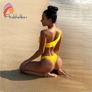 Image 3 - Andzhelika New Bikini Solid Sexy One Shoulder Bikini Sets Women Floral Swimsuit Brazilian Swimsuit Beach Bathing Suit Monokini